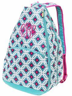 Ocean Graphic Monogrammed Tennis Backpack - GirlyTwirly.com