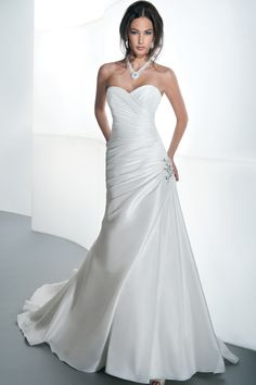 STYLE GR235 Taffeta fit and flare with asymmetrical ruching ...