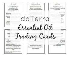 Free essential oil trading cards you can use for doTerra or Young Living. DIY recipes for essential oils. My favorite is the natural teething remedy.