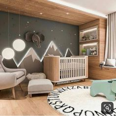 Baby Room Inspiration Illuminated Mountains The post Baby Room Inspiration Illuminated Mountains appeared first on kinderzimmer. Baby Bedroom, Baby Boy Rooms, Baby Room Decor, Baby Boy Nurseries, Kids Bedroom, Nursery Decor, Baby Nursery Ideas For Boy, Nursery Room Ideas, Nursery Grey