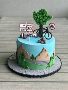 Bicycle Cake, Bike Cakes, Bicycle Shop, 40th Cake, Dad Cake, Fondant Cakes, Cupcake Cakes, Cupcakes, Mountain Cake