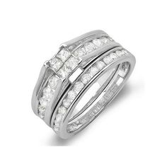 Wedding Ring Set ($469) ❤ liked on Polyvore featuring jewelry, rings, white, channel set engagement ring, white gold rings, white gold wedding rings, princess cut wedding rings and princess cut ring
