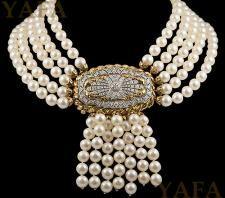 DAVID WEBB Two Tone Cultured Pearl & Diamond Necklace
