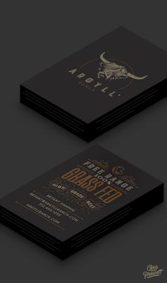 Business card / branding graphic design for Argyll Ranch. The logo for this ranch is a custom illustration of a Scottish Highland bull with textured typography. Located in the heart of Wisconsin in Argyle; this ranch raises only Scottish Highland beef which is allowed free-range access to the overall farm utilizing organic standards. Business card consists of wood type  style western typography with flourish & celestial moon illustration.  Milwaukee Graphic Designer Chris Prescott…