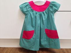 Polka dot dress for the summer nursery wardrobe. Soon to be joined by a sleeveless floral version.