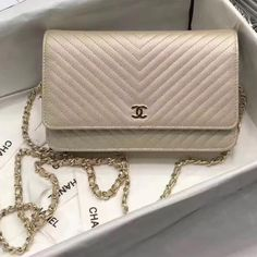 64dfa2b0b99e Chanel Grained Chevron Calfskin Wallet On Chain WOC Bag Gold 2017(Gold  Hardware) Chanel