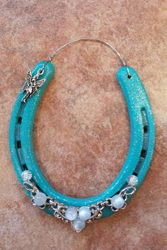 Fairy Turquoise Painted Horseshoe by PebblesByAngelVicki on Etsy