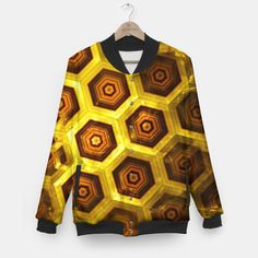 Gold Honeycombs Baseball Jacket, Live Heroes @liveheroes by @photography_art_decor. All product: https://liveheroes.com/en/brand/oksana-fineart #fashion #clothing #online #shop #gold #golden #honeycombs #honey #bee #summer #graphic #design #geometry #geometric #yellow #metalic #bright #shine #pattern #psychedelic #abstract #metalic #sun #abstract #briht #pattern  #trendy #stylish #fashionable #modern #awesome #amazing #clothes