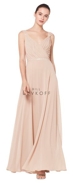 828be42828c Style  1600 Chiffon sleeveless surplice gown with wide front and back V.  Clear rhinestones · Bill Levkoff ...