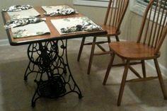 """My old sewing machine transformed into our """"new"""" kitchen table."""