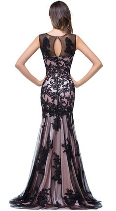 4a26cab6746d2 Amazon.com  Babyonline Black Lace Mermaid Evening Dresses Sleeveless Long  Maxi Party Gown  Black Prom ...