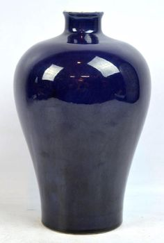 Chinese Dark Blue Monochrome Porcelain Meiping, the base and inside in clear glaze and with a Yongzheng Mark in underglaze blue inside the wide unglazed foot rim. Glass Ceramic, Ceramic Art, Ancient China, Qing Dynasty, Porcelain Ceramics, Devon, Monochrome, Glaze, Dark Blue