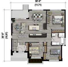 Plan image used when printing Modern Tiny House, Contemporary House Plans, Modern House Plans, Small House Plans, House Layout Plans, House Layouts, Bungalow House Plans, Dream House Plans, Loft House Design