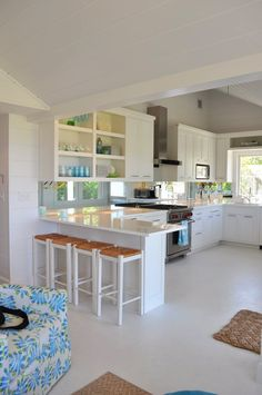 Clean and white, open shelving