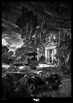 """pixalry: """"Thomas and Martha Wayne - Created by Nicolas Delort Official Batman limited screen print online now available for sale at French Paper Art Club. Gravure Illustration, Illustration Art, Art Scratchboard, Nicolas Delort, Arte Alien, Black White Art, Ink Illustrations, Geek Art, Art Club"""