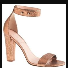 JCrew Lanie Crackled Leather Stacked Heel Copper. Never worn. New in box. Super sexy and we're just too big for me. J. Crew Shoes Heels