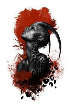 Mother Africa, Trash Polka, Woman, Hybrid, wildlife, Art, Tattoo