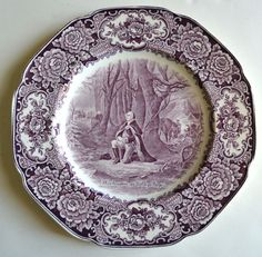 American history plate 'Washington at Valley Forge,' circa 1932, vintage aubergine English transfer ware