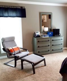 Have a comfortable chair to lounge in for your teen boy's room!  Add a pillow for a pop of color