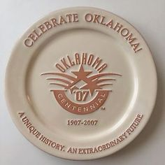 FRANKOMA POTTERY OKLAHOMA CENTENNIAL 1907-2007 COLLECTOR PLATE WHITE SAND GLAZE