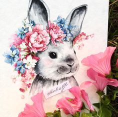 Ideas for flowers illustration drawing artists Watercolor Animals, Watercolor Flowers, Drawing Flowers, Bunny Painting, Painting & Drawing, Cute Animal Drawings, Cute Drawings, Watercolor Sketch, Watercolor Paintings