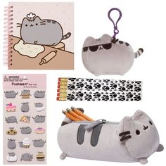 Bundle Back-to-school Gund Pusheen Notebook, Accessory Case, Stickers,... ($60) ❤ liked on Polyvore featuring home, home decor, office accessories and gund