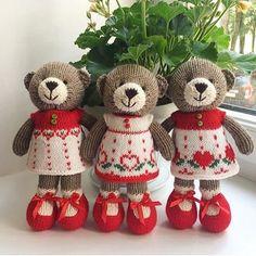 Ballerina bears - little cotton rabbits Knitted Bunnies, Knitted Teddy Bear, Crochet Teddy, Knitted Animals, Crochet Bear, Knitted Dolls, Crochet Dolls, Knitting Projects, Crochet Projects