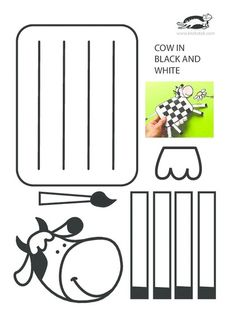Cow in black and white – craft fun – creative arts New Year's Crafts, Summer Crafts, Paper Crafts, Easy Crafts, Farm Animal Crafts, Animal Crafts For Kids, Cow Craft, Art N Craft, Paper Weaving