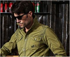 Men'S Long Sleeve Fashion Cargo Shirts Casual Loose Plus Size Uniform Cotton Embroidery Shirts Military Army Green Shirt A009 -------------------------------------------- Want to Buy? Click here: http://ali.pub/22kaul