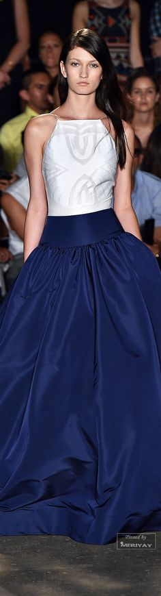 Christian Siriano.Spring 2015. This is the color I want to use throughout my new home. Cobalt blue, gray, aubergine, bronze, gold.