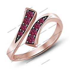 14K Rose Gold over 925 Silver Pink Sapphire Prong-Set Bypass Adjustable Toe Ring #Unknown #Bypass