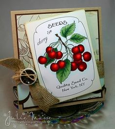 Terrific colouring and vintage inspired vibe. #card #cherries #scrapbooking #crafts