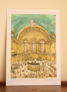 GRAND CENTRAL STATION  New York  - Signed Giclee print by Clare Caulfield from watercolour painting / Grand Central Terminal Manhattan NYC