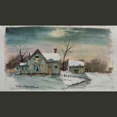 Latest video posted on YouTube. Farmhouse on a Winter Night. Link to my YouTube Channel is in my bio or Cut and Paste: https://m.youtube.com/c/petersheelerart | by sheelerart