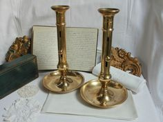 STUNNING HUGE PAIR OF FRENCH ADJUSTABLE BRASS CANDLESTICKS HOLDER LOUIS PHILIPPE #LouisPhillipe