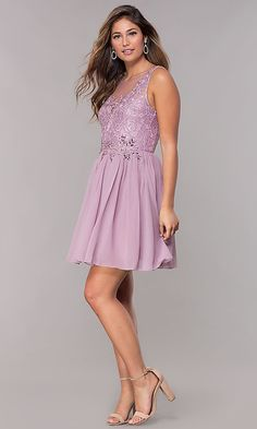 Shop lace-bodice homecoming dresses at PromGirl. Short chiffon party dresses and high-neck semi-formal dresses with embroidered lace appliques, beads, and rhinestones. Semi Formal Dresses, Short Dresses, Prom Girl, Great Legs, Chiffon Skirt, Girly Outfits, Lace Bodice, Embroidered Lace, Homecoming Dresses