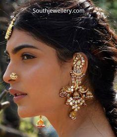 Long Ear Cuff Jhumkas in Polki Diamond Earrings Indian, Indian Jewelry Earrings, Silver Jewellery Indian, Nose Jewelry, Jewelry Design Earrings, Indian Wedding Jewelry, Gold Earrings Designs, Indian Jewellery Design, Bridal Jewelry