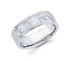 Unique 14K White Gold High Polished Edge Profile with a Hammered Texture Design 7mm Wedding Band for men