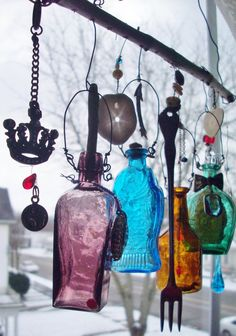 Bottle Chime Colorful Vintage Miniature Bottles by creationdesigns, $38.95