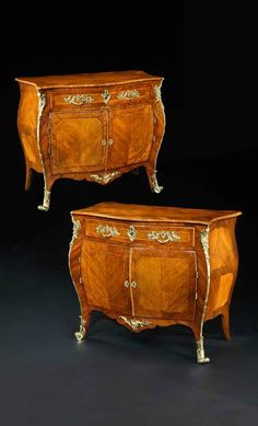 An important and rare pair of mid 18th century Chippendale period rosewood and padouk ormolu mounted bombe commodes attributed to Pierre Langlois,  English/ French Hguenot,  circa 1760