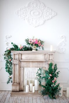 Love the mantel idea for a ceremony area, perhaps with flameless candles and a floral container that looks a little less like a skull from a distance. Also like the mirror behind the faux fireplace/mantle. Wedding Mantle, Wedding Fireplace, Bedroom Fireplace, Fireplace Mantle, Mantle Piece, Photo Corners, Photo Studio, Flower Arrangements, Backdrops