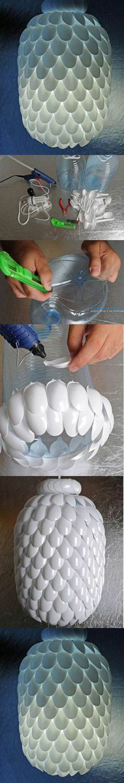DIY Plastic Spoon Chandelier 2