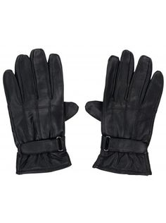 Twisted Soul Mens Faux Leather Strap Gloves