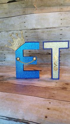 Royal Blue And gold Mache Letters ,Prince Party Favor,CrownTreat Bags,Baby Boy Shower, Baby Shower,Royalty Baby Shower!!