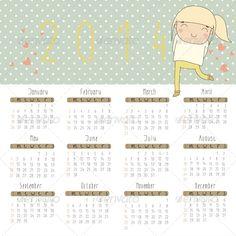 Vector Calendar for 2014.  (Valentines)