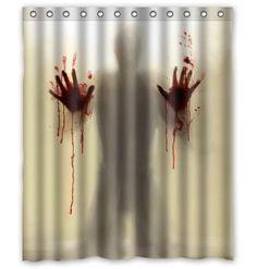 Halloween Walking Dead Creepy Bloody Hands Shower Curtain