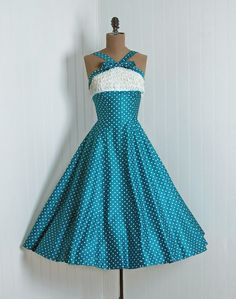 1950's Turquoise and White Polka-Dot Halter Dress With Lace Ruffled Bodice