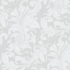 Papel de parede arabesco folhagem com desenho branco com fundo cinza. Tamanho: 1 Rolo de 3m (altura) X 50cm (largura).