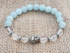 Aquamarine Beaded Bracelet, Yoga Bracelet, Buddha Bracelet, Buddhist Jewelry, Crystal Quartz Healing Stones, Spiritual Mala, Meditation Gift