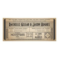 Vintage Wedding Ticket Invitation. Customize your own 1940s black and white era wedding announcement